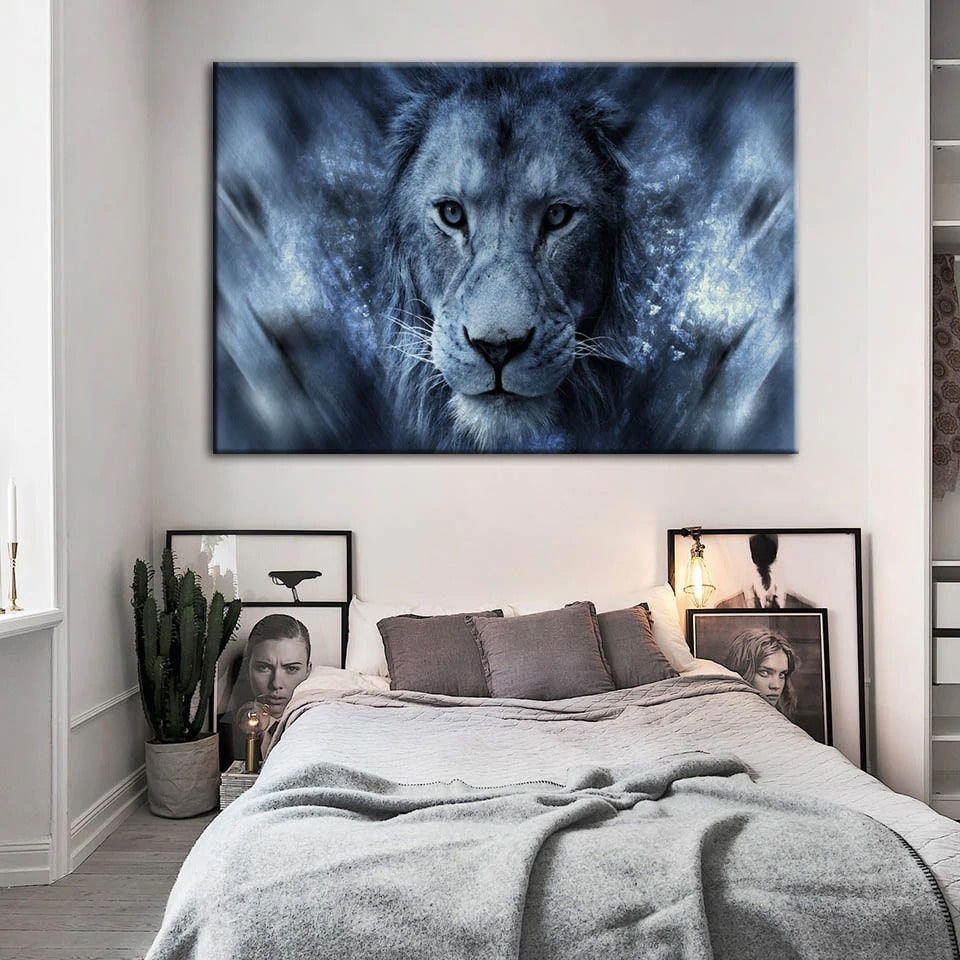 tableau lion bleu