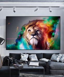tableau lion moderne