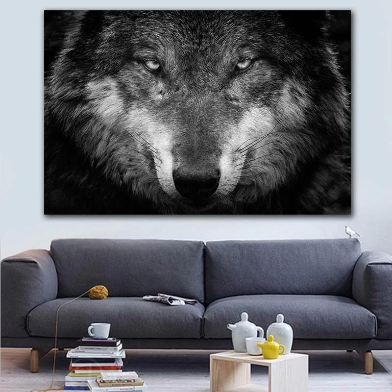 peinture loup gris