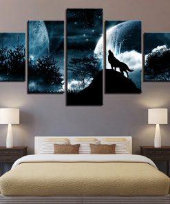 peinture loup pleine lune