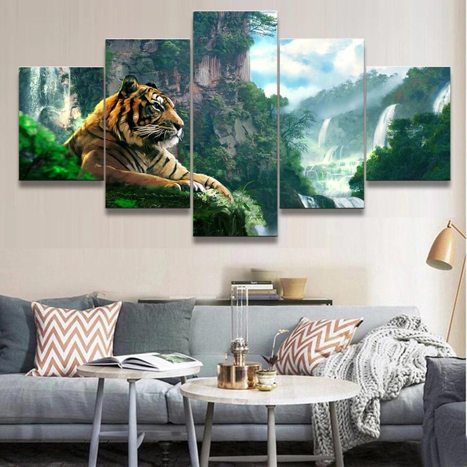 superbe tableau tigre dans la jungle