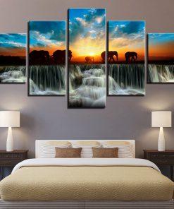 tableau avec des elephants