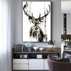 tableau d'un cerf en style abstrait