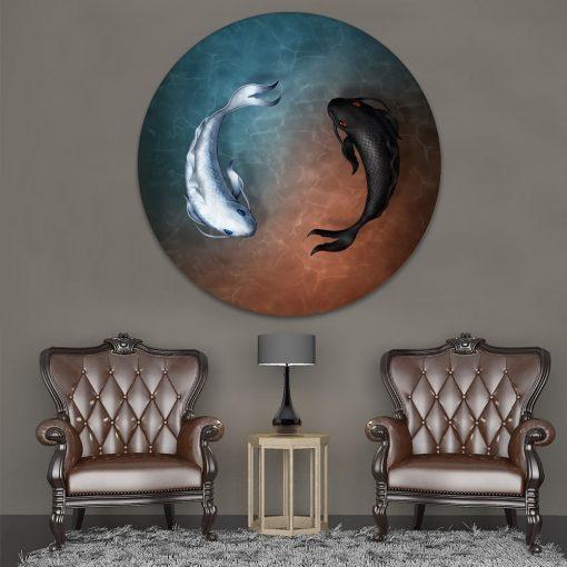 tableau poisson japonais circulaire