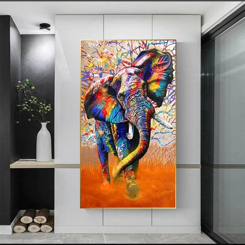 tableau elephant abstrait