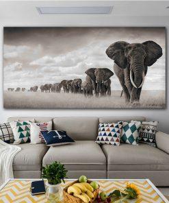 tableau elephant noir et blanc