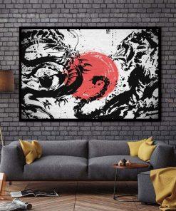 tableau japonais dragon lion