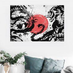 tableau japonais lion dragon