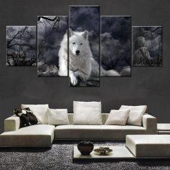 tableau loup blanc
