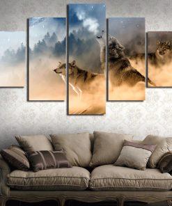 tableau avec des loups hurlant