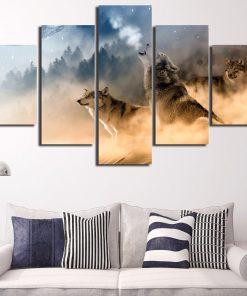 toile décorative avec loup hurlant