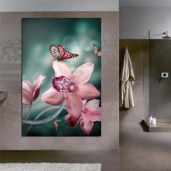 tableau papillon fleurs