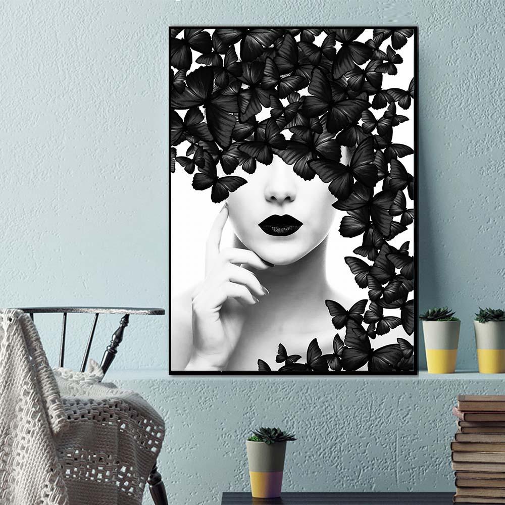 tableau papillon noir et blanc