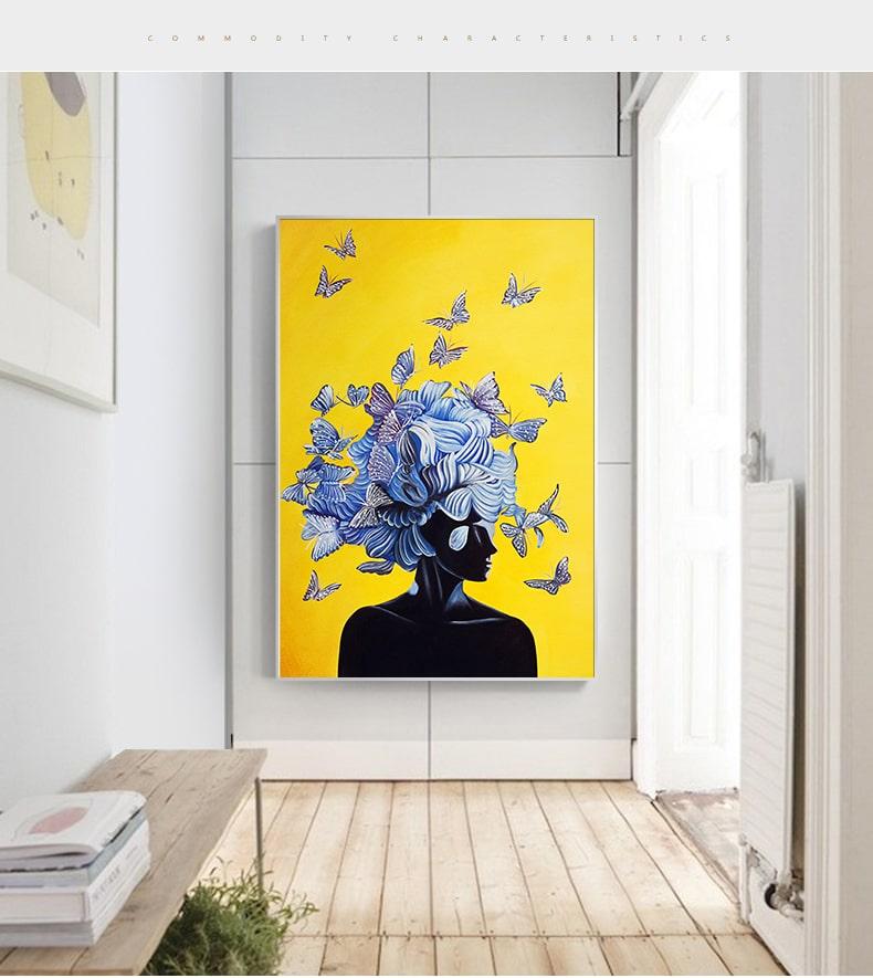 tableau peinture abstrait papillon