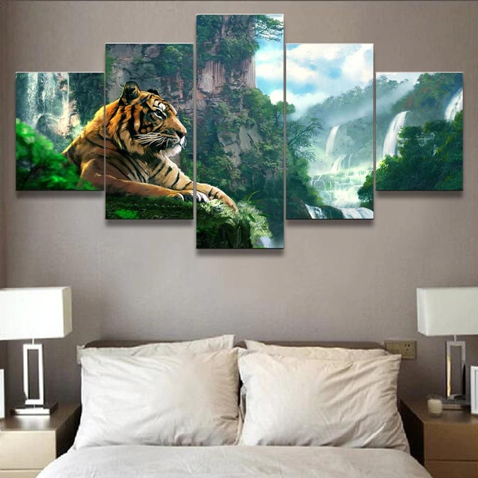 Tableau tigre dans la jungle