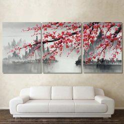 tableau triptyque cerisier japonais