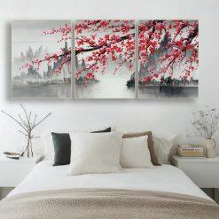 tableau cerisier japonais triptyque