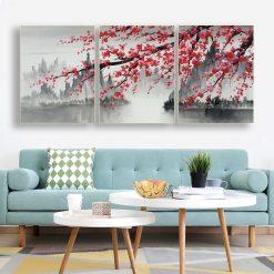 tableau 3 parties cerisier japonais