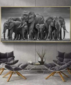 toile elephant noir et blanc