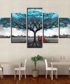 tableau bleu arbre