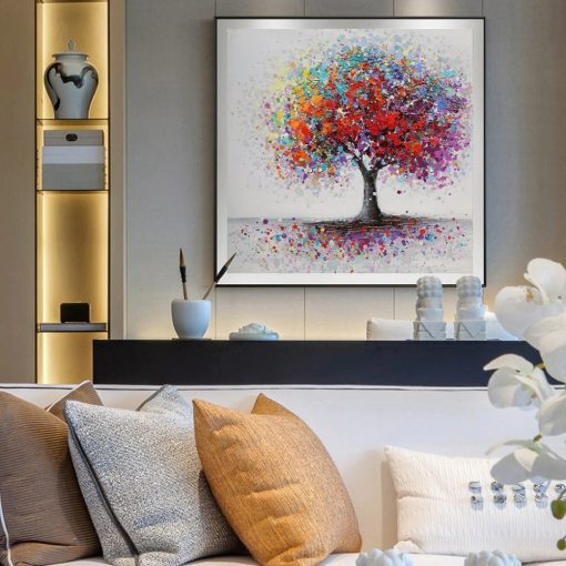 tableau arbre plein de couleurs