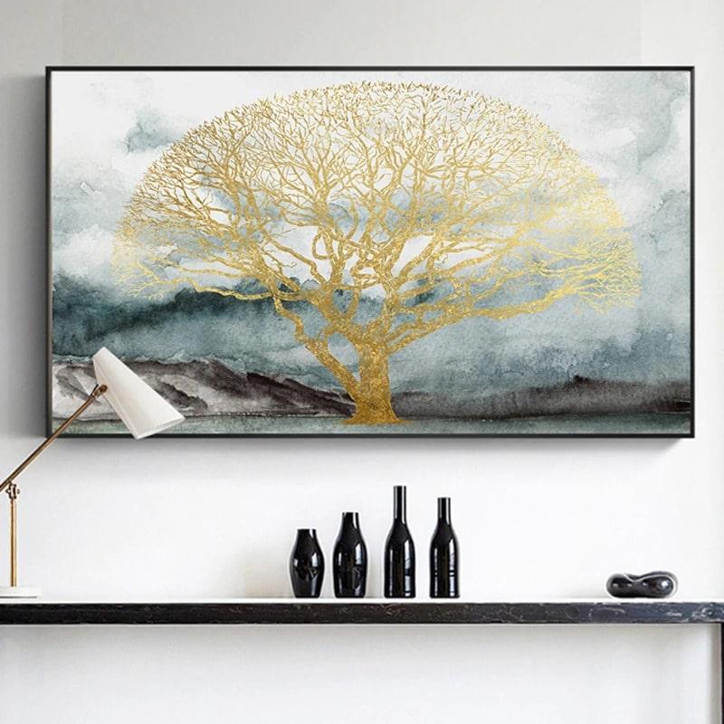tableau arbre doré