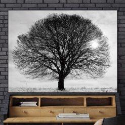 tableau arbre noir et blanc