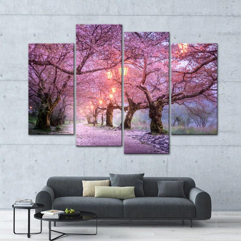 tableau arbre rose