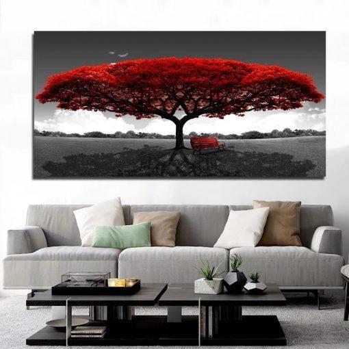 tableau arbre rouge noir blanc