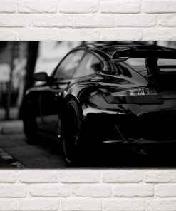 tableau porsche noir et blanc
