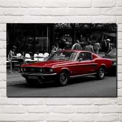 tableau vintage mustang rouge